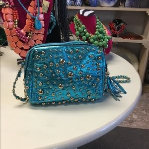 Blue and gold crossbody bag